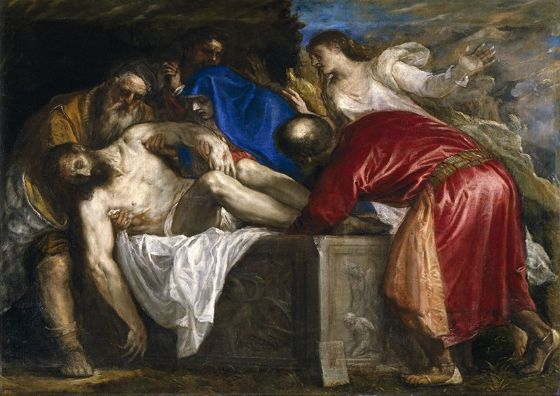 Titian (Tiziano Vecellio): The Burial of Christ. Religious/Christian. Fine Art Print/Poster. Sizes: A4/A3/A2/A1 (001942)